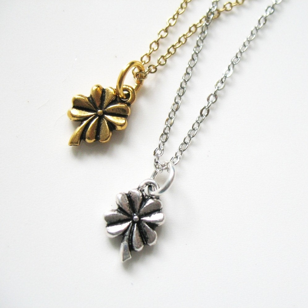 Lucky - Four Leaf Clover Charm Necklace in Silver or Goldtone