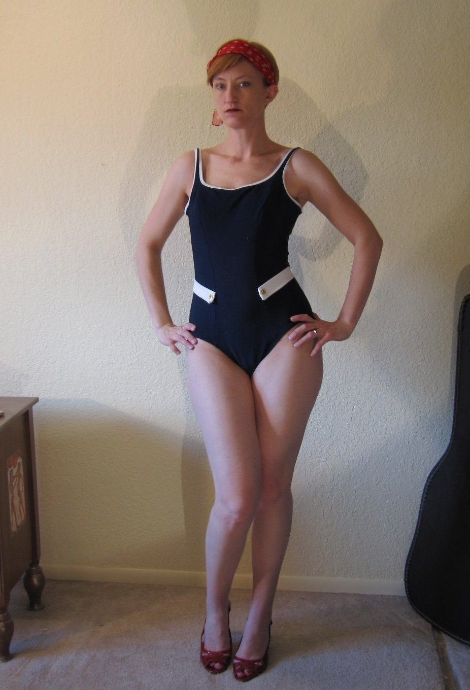 Vintage 70s Nautical Navy & White Swimwear Swimsuit. Bathing Suit. Gold Buttons. Size M. - ChatteJolie
