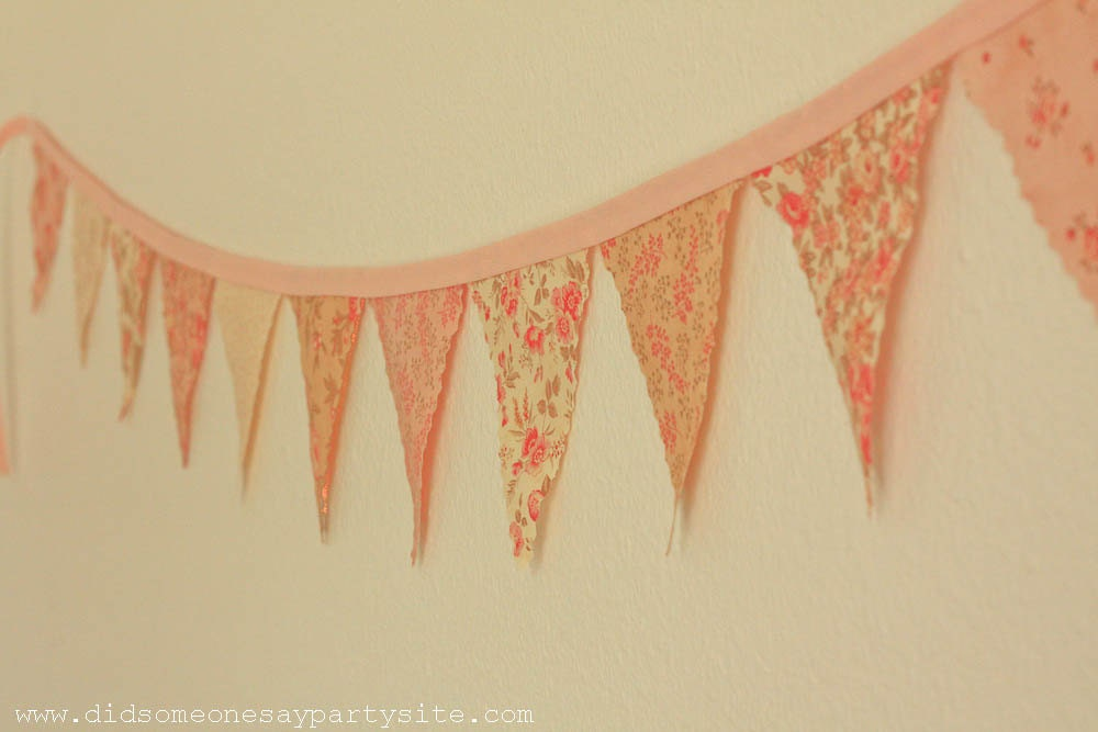 Pink and Creamy Yellow Fabric Pennant Banner