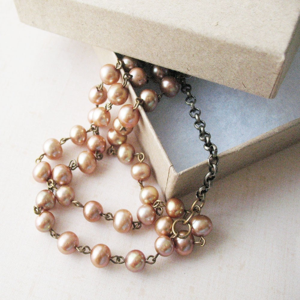 Caramel Pearl Multi-strand Necklace