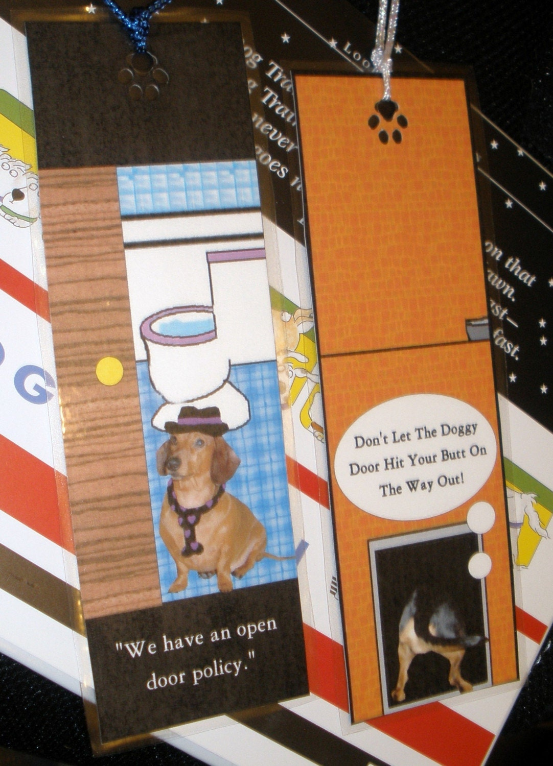 2 Open Door Policy Dachshund Laminated Double Sided Bookmarks