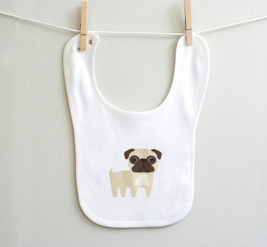 Pug baby bib. Organic cotton - squarepaisleydesign