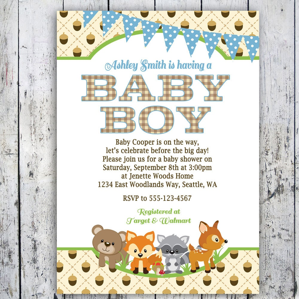 baby shower invitations boy woodlands invite printable invite