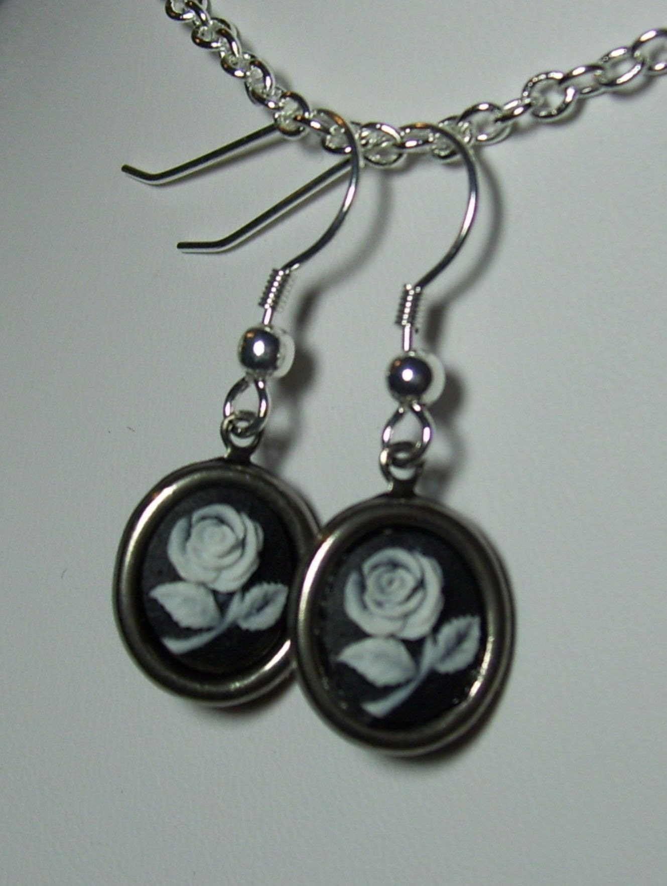 Simply Delicate Tiny Rose Cameo Flower Neo Victorian Steampunk Earrings Silver Black White