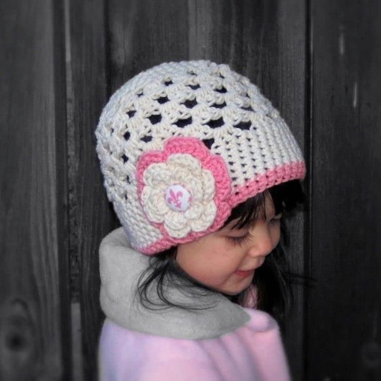 Crochet hat pattern - Sweet cream and rose crochet beanie hat PDF Pattern - Newborn baby toddler child adult sizes  - 12mo 18mo 2t 3t