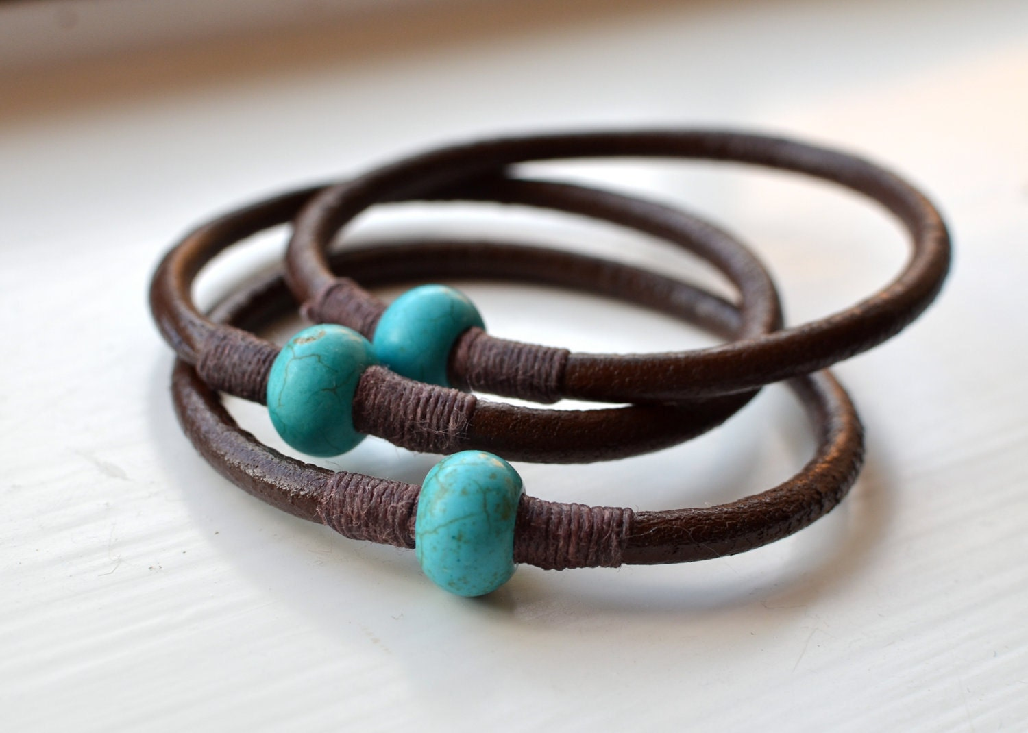 Turquoise and Chocolate Brown Leather Bangles - VerdantDesigns