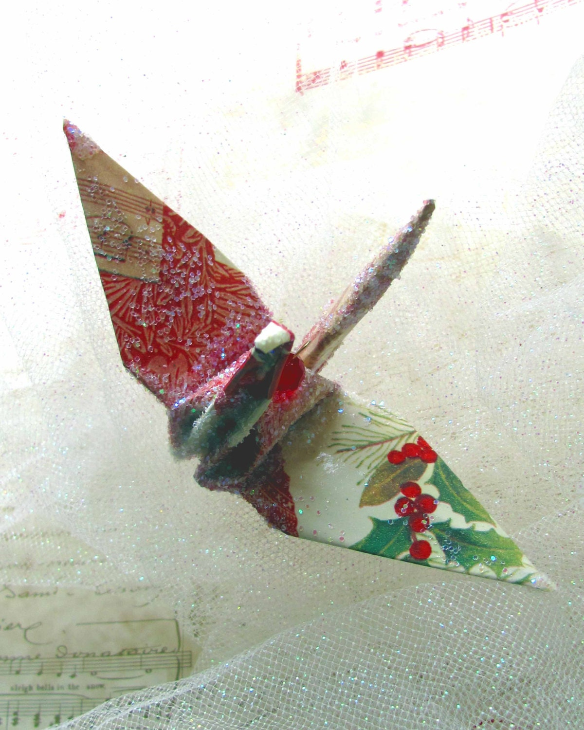 Christmas in July Ornament Peace Crane Wedding Cake Topper Party Favor Origami Japanese Paper Bird  Renaissance Music - localcolorist