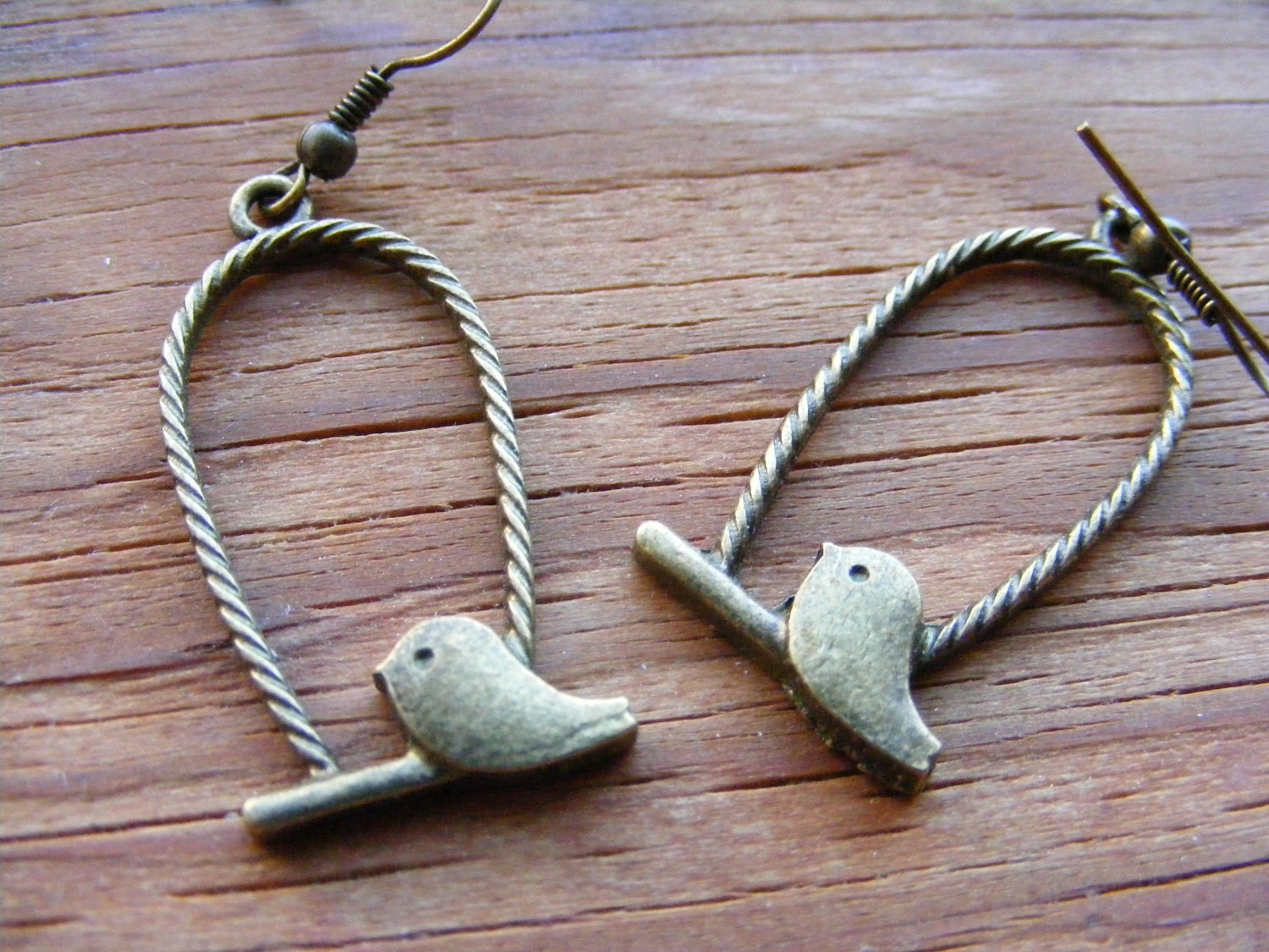 Earrings Bronze Let the Caged Bird Fly