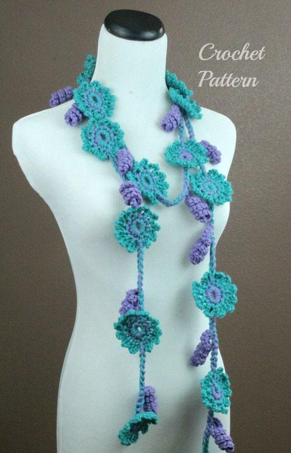 Easy Crochet Flower Scarf Pattern : Crochet PATTERN PDF Crochet Flower Scarf Pattern by OnTheHook