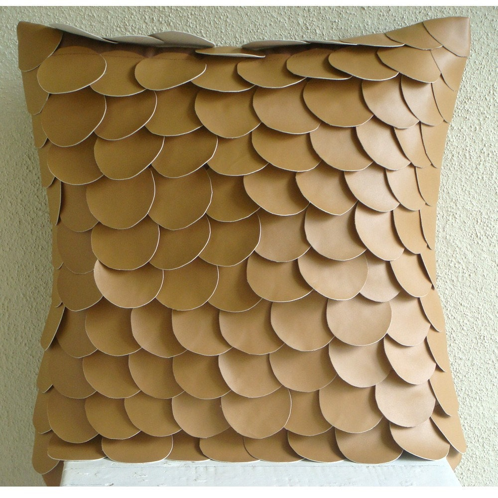 Throw Pillows Tan Couch : Items similar to Decorative Throw Pillow Covers 16x16 Tan Leather Embroidered Pillow Covers ...