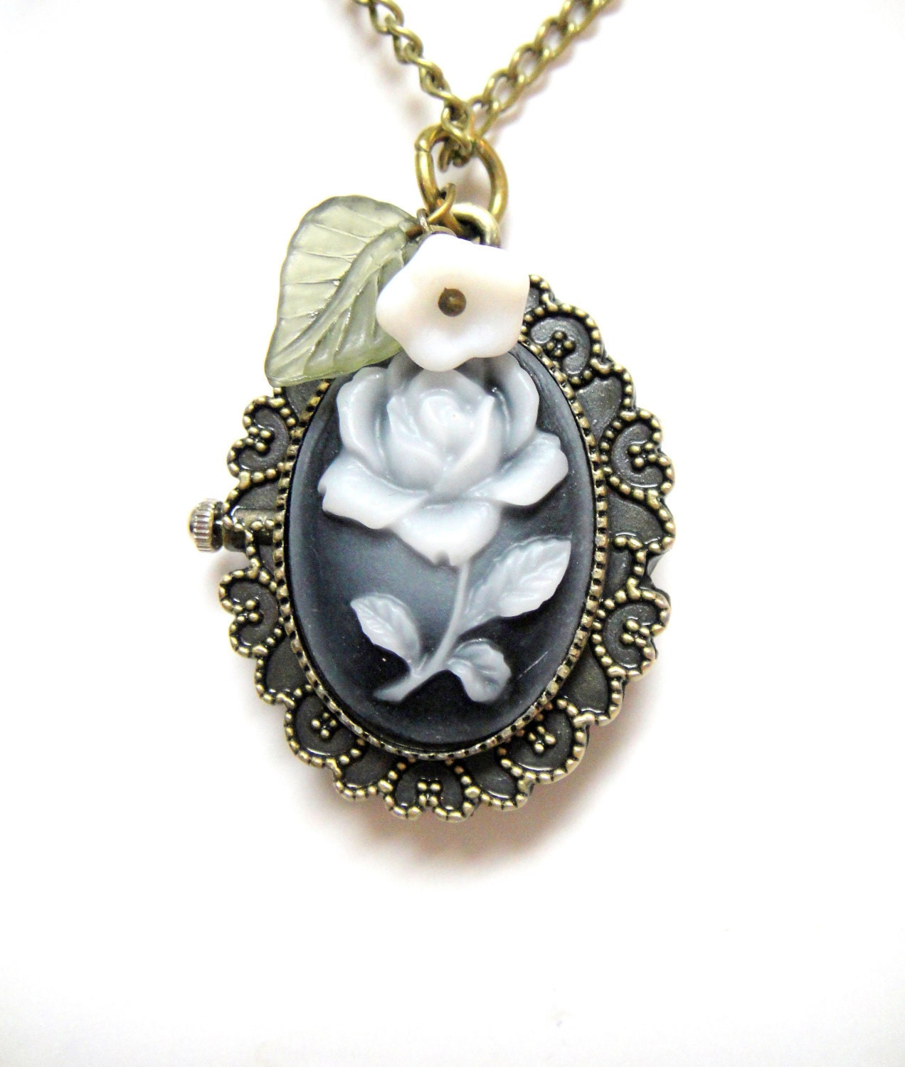 Flower Pocket Watch -  Blue Flower Watch, White Flower, Leaf Accent - Flower Necklace Pocket Watch