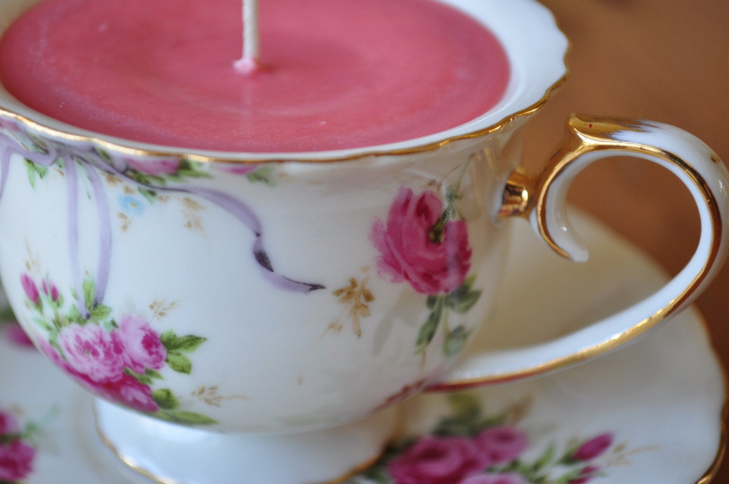 Strawberry Rose Teacup Candle