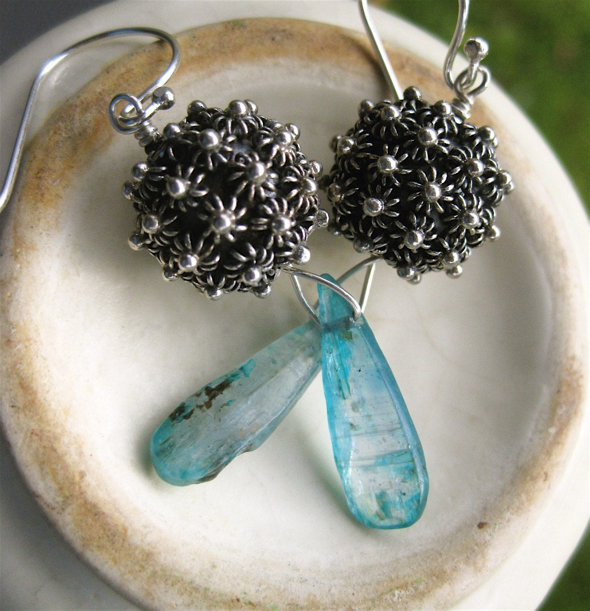 Sparking Sterling Ball and Kyanite Earrings