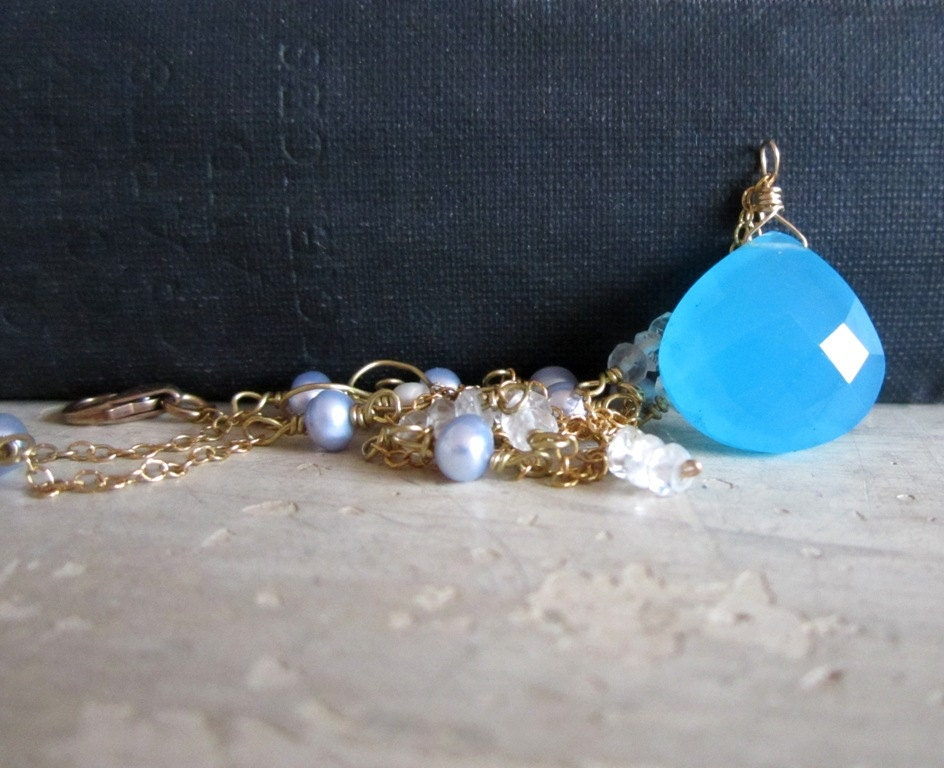 Ocean Blue, Chalcedony, Onion Briolette, Freshwater Pearl, Faceted Blue Topaz and Gold Necklace