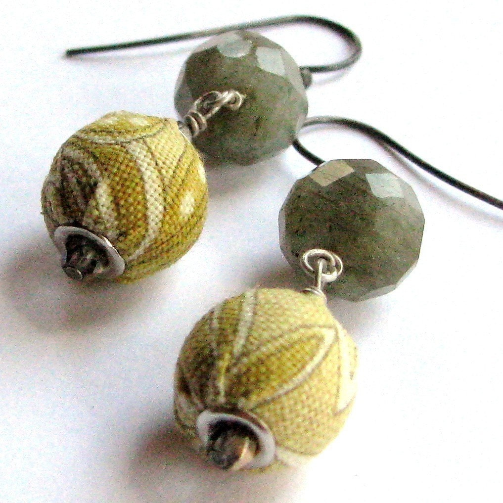 CHAMOMILE TEA-Fabric/Labradorite/Sterling-Earrings
