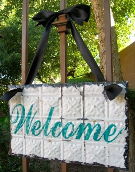 WELCOME Sign made with Antique Ceiling Tin Tile / Architectural Salvage Home Decor