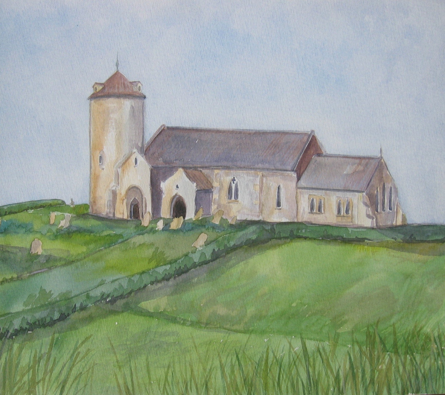 Church on a hill - Original Watercolour painting