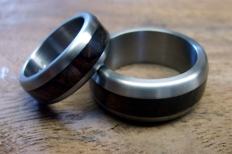 Etsy robandlean Titanium and Wood Wedding Bands Custom Engraved