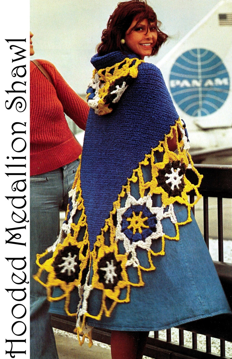 Vintage 70 39 s crochet hooded medallion shawl pdf by for Vintage sites like etsy