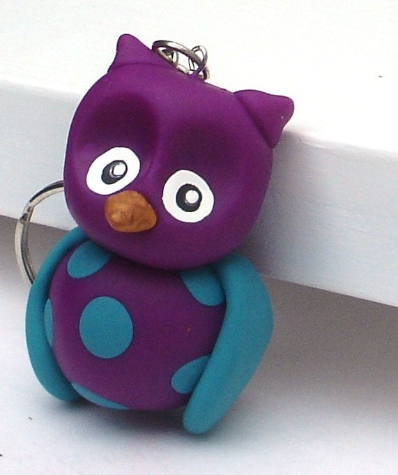 Owl Keychain, Purple with Blue Polka Dots Polymer Clay
