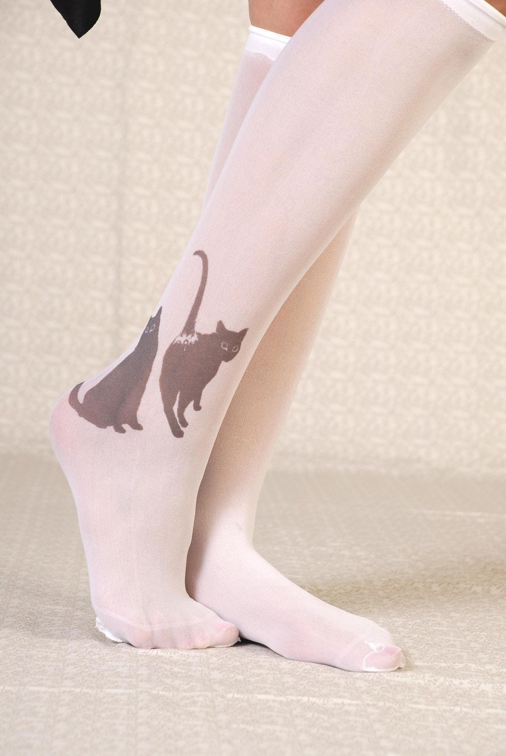 Printed Tights - white cats