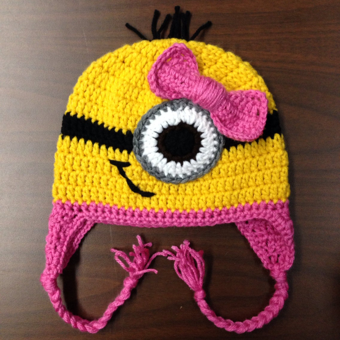 Free Crochet Pattern For Girl Minion Hat : Crochet Baby Girl Minion Hat - Sizes Newborn to 12 Months