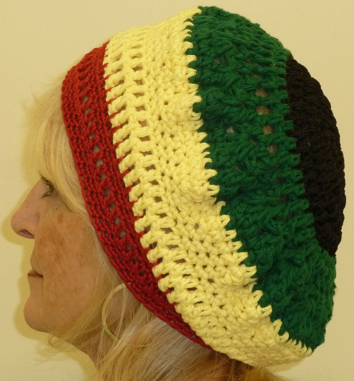 Crochet Pattern For A Rasta Hat : Rasta Crochet Hat Unique Original by hatsbyanne1942 on Etsy