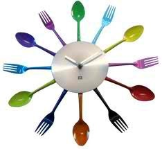 Obscurious Neon Color Block Cutlery Clock