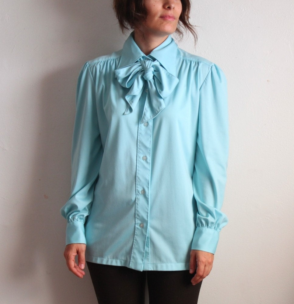 Baby Blue 70s Bow Tie Blouse by bethakabetty on Etsy