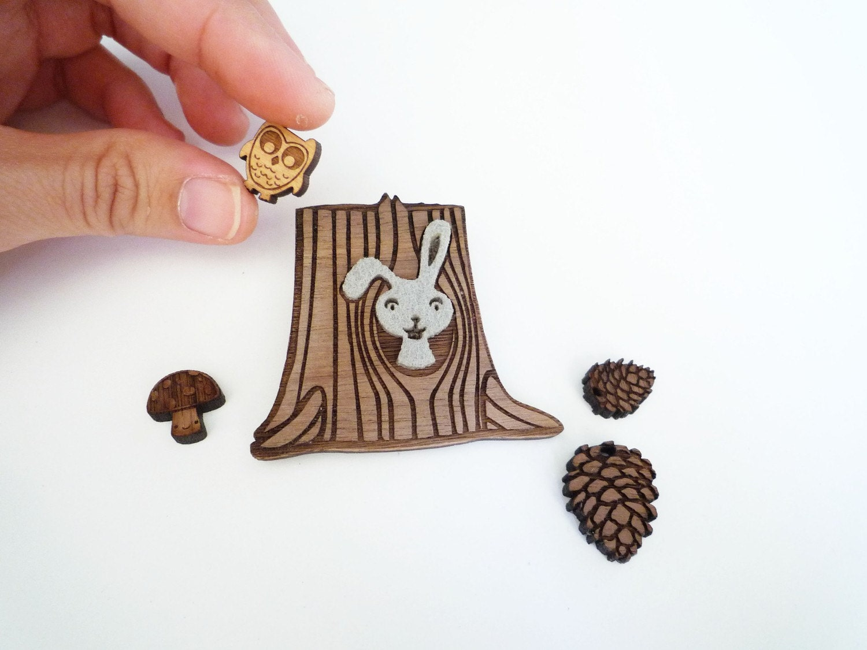 Wood Stump Brooch