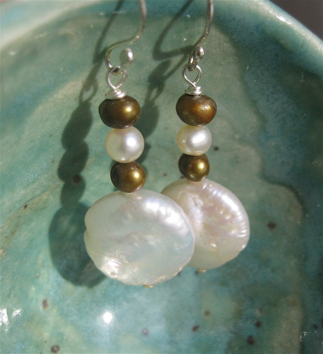 Pearl Pebble and Coin Earrings
