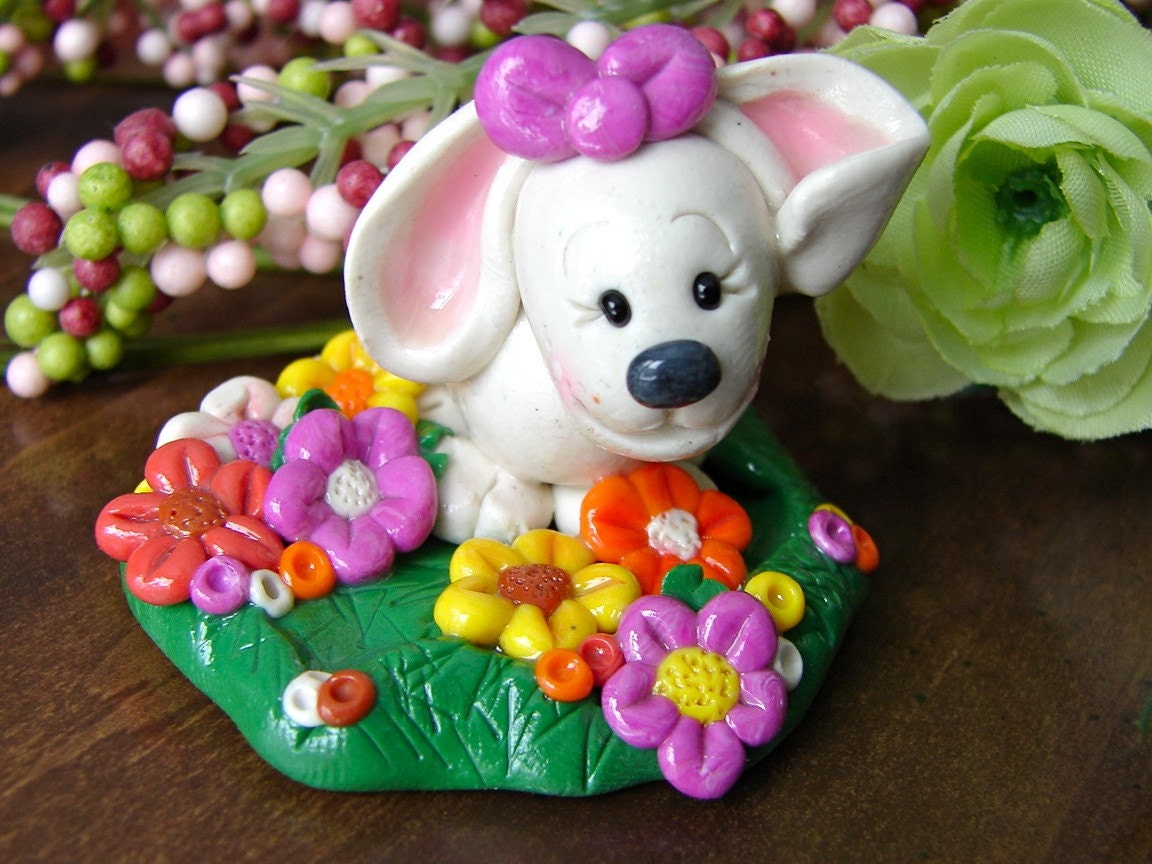 BUNNY RABBIT with FLOWERS Whimsical Polymer Clay Spring Figurine