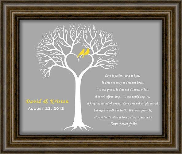 ... Wedding DateFirst Anniversary Paper GiftWedding Tree Print