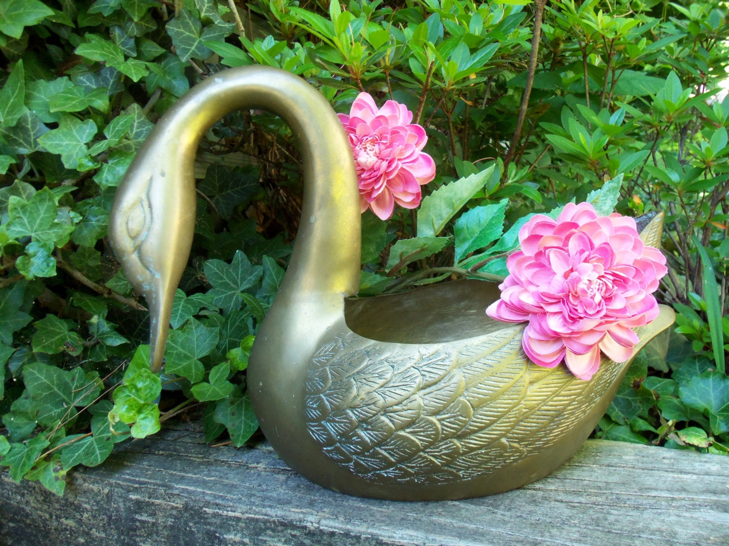 Large Brass Swan Planter Bird Planter Art Deco By Thevintageporch