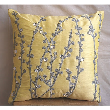 Yellow Silk Decorative Pillows : Decorative Throw Pillow Covers Accent Pillow by TheHomeCentric