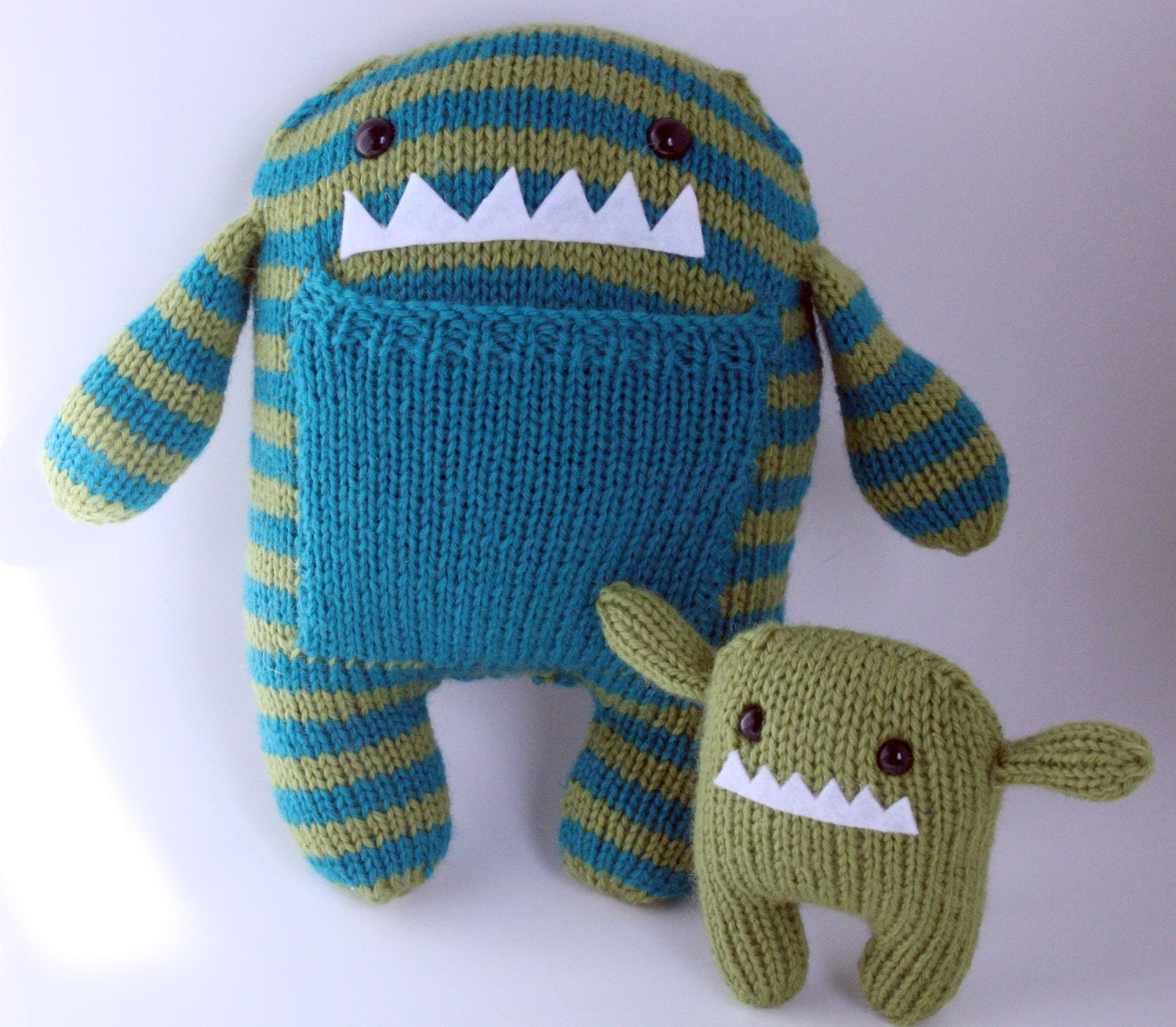 Hand Knit Mama and Baby Monster Plush Set