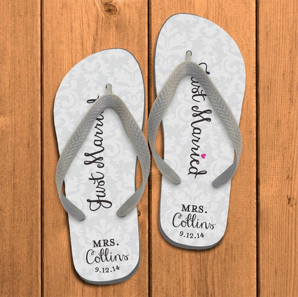 just married damask personalized flip flops by. Black Bedroom Furniture Sets. Home Design Ideas