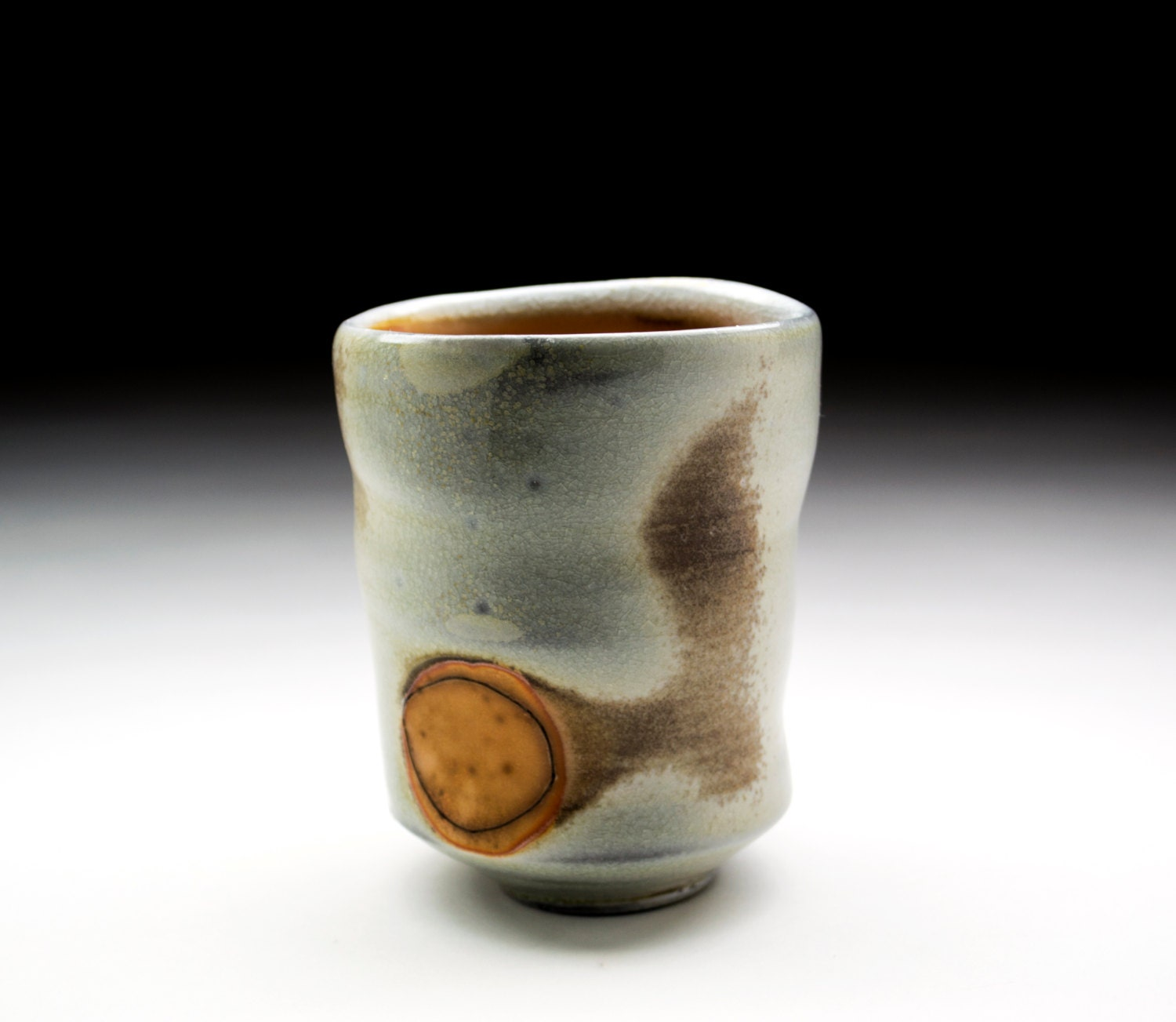 Flame Tail Yunomi: Handmade. Wood Fired Porcelain Yumomi With Large Side Wadding Mark, Circle Line,Tea Bowl, Tea Ware, Incised Line,Chawan - BenCirginPottery