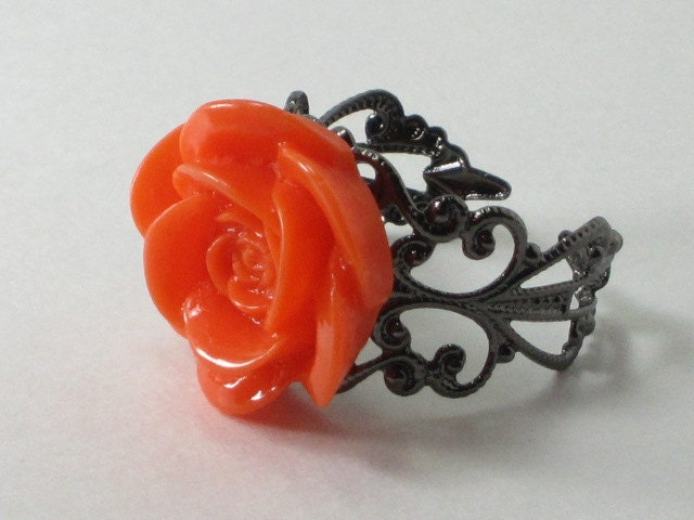 Vintage Inspired Lucite Flower Ring on Filigree Adjustable Band