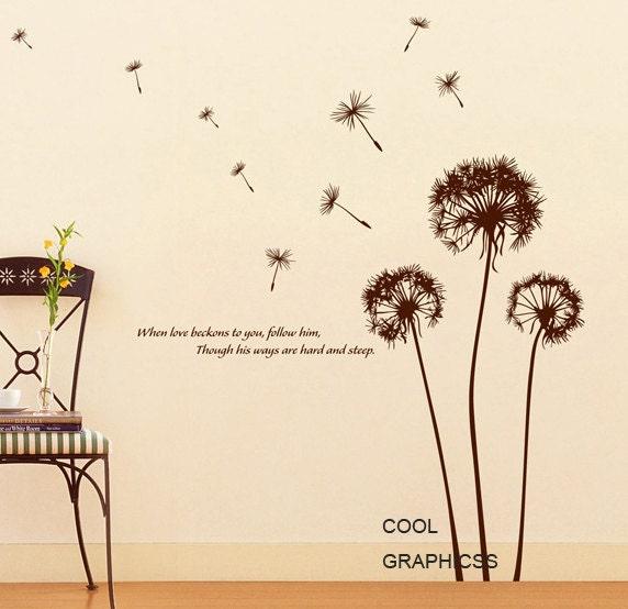 Dandelions in the wind - Vinyl Wall Decal Sticker Art