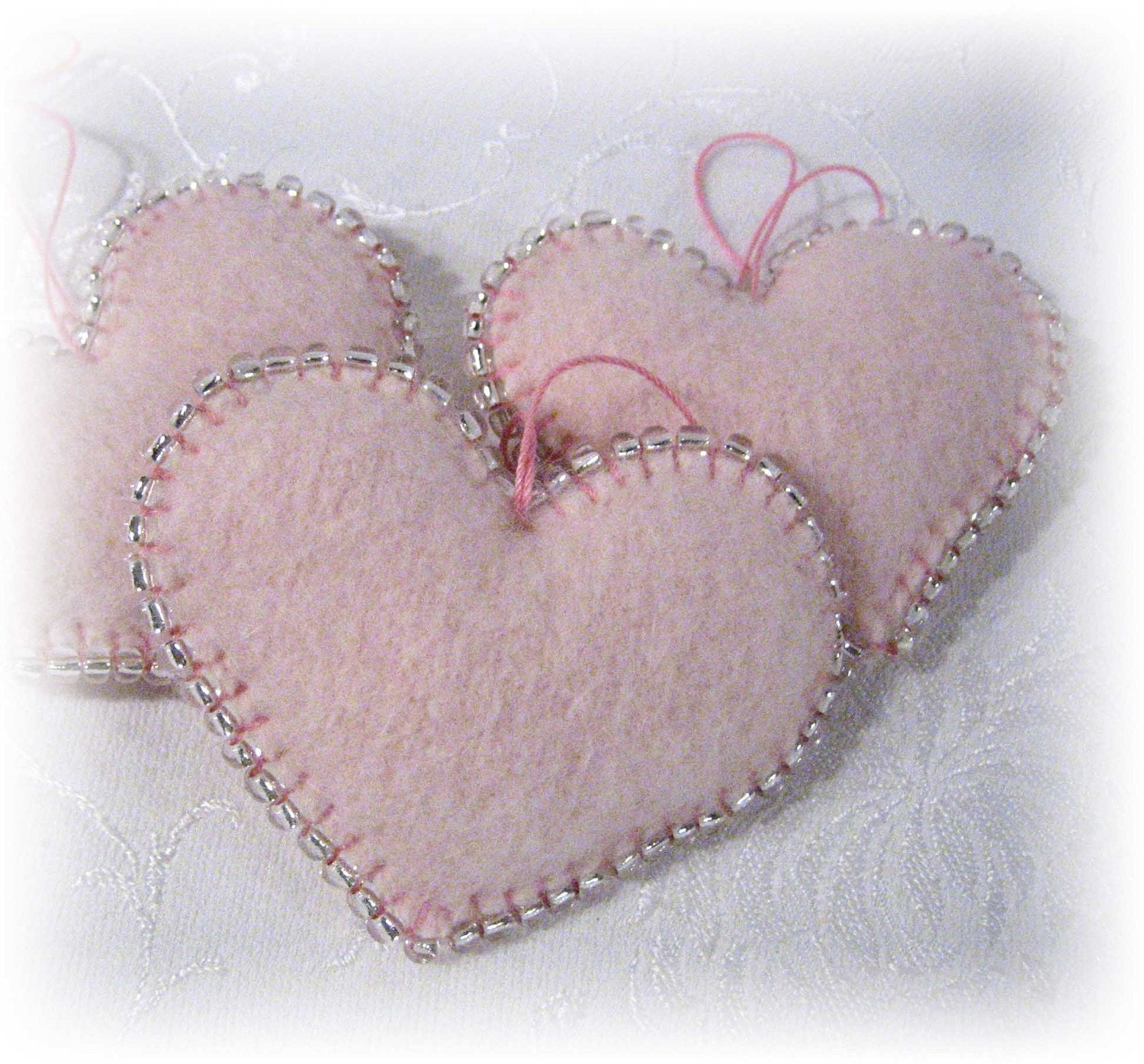 Trio of Pale Pink Heart Ornaments Handmade from Wool Felt