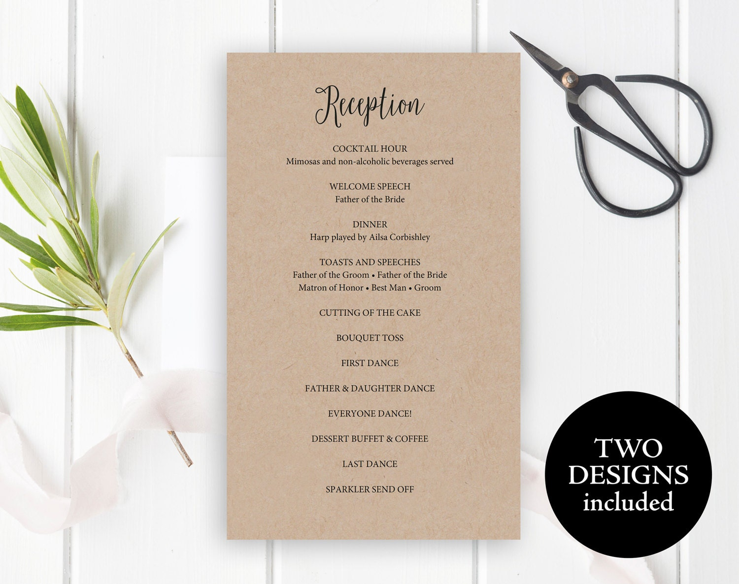 Reception Program Template Reception Program Card Printable Reception Timeline Reception Itinerary Wedding Printable Instant Download