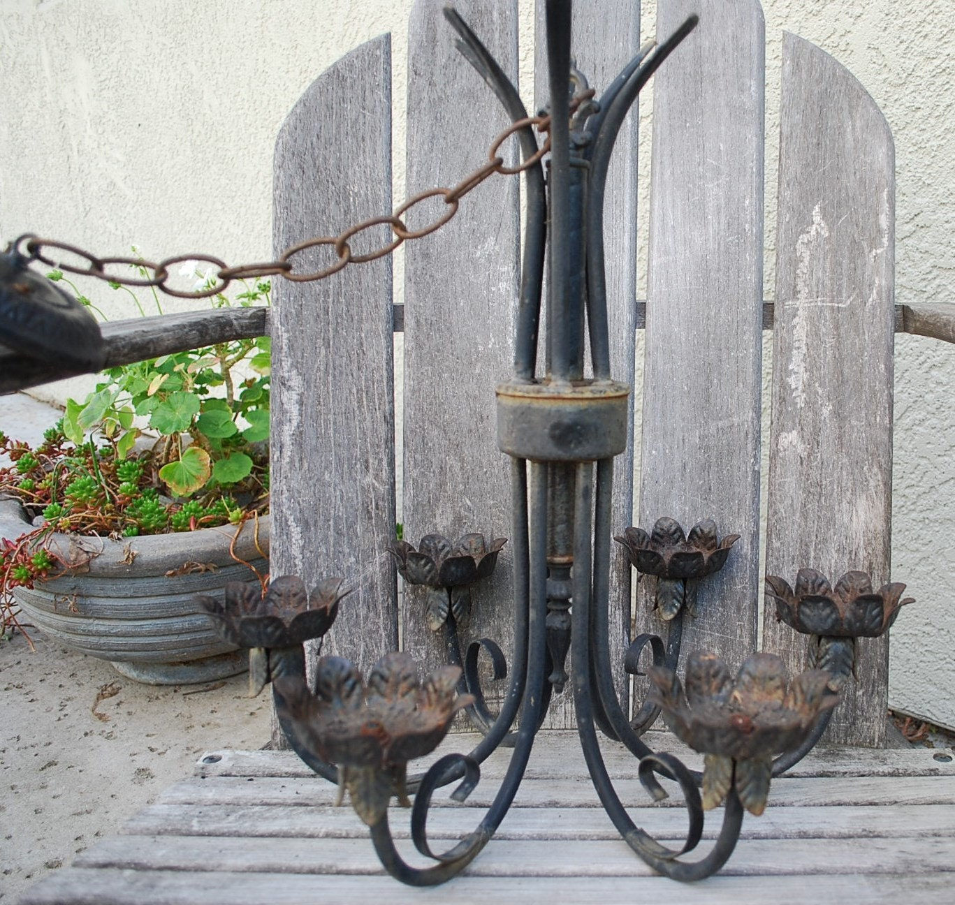 vintage wrought iron hanging light fixture by. Black Bedroom Furniture Sets. Home Design Ideas