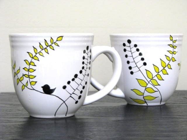 Hand Painted Mugs Modern Leaf Design By Prettymydrink On Etsy