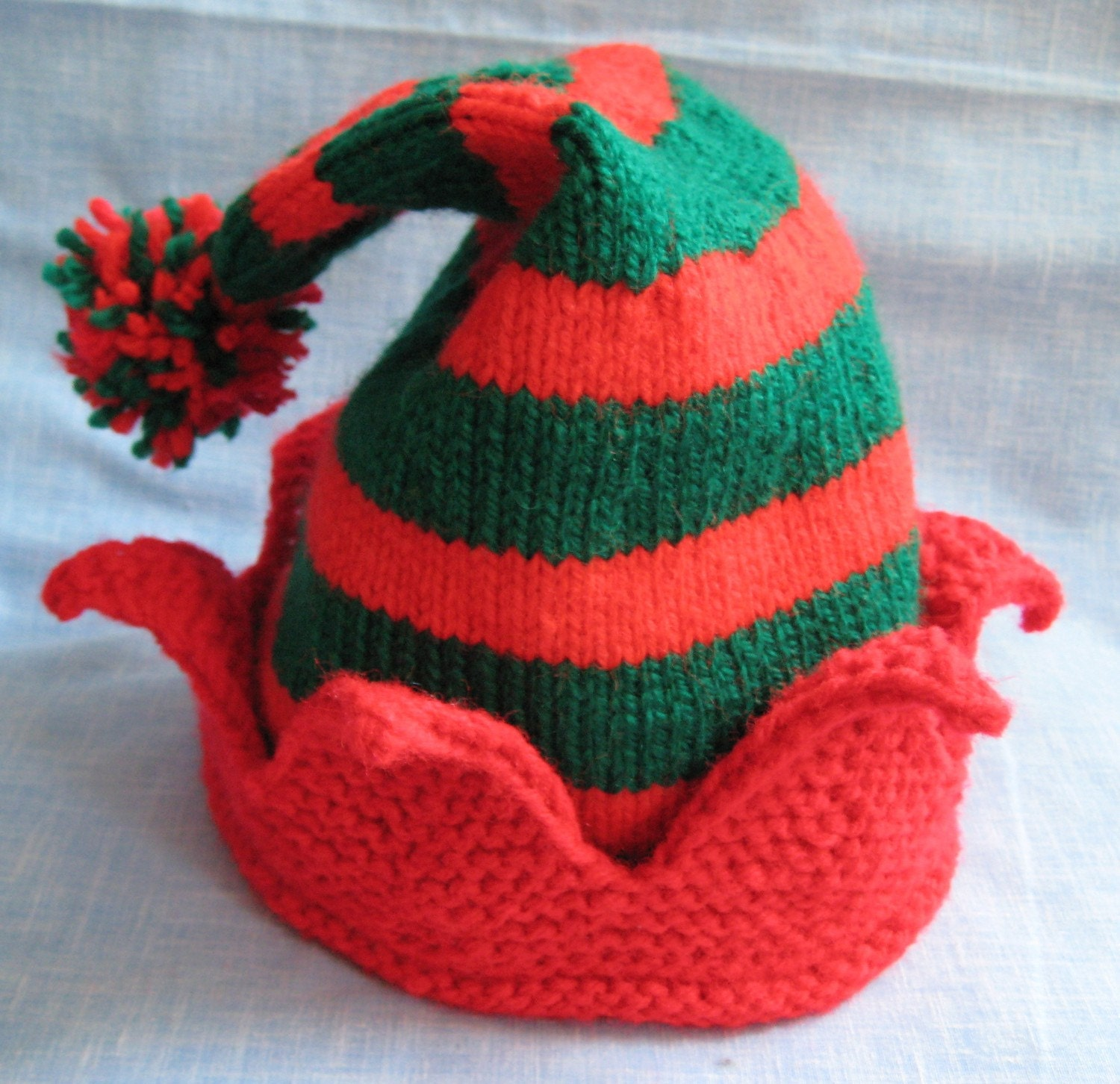 Items similar to handmade knit striped Christmas Elf Hat -- made to order on ...
