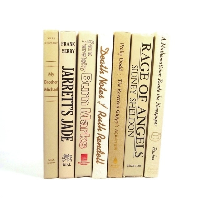 Beige tan ivory vintage decorative books