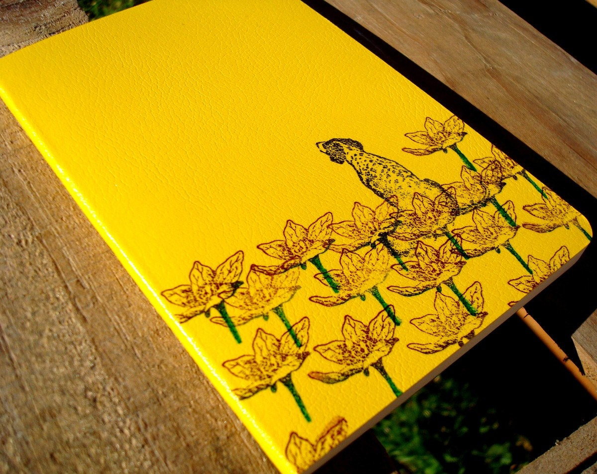 Black Dog in Flowers yellow bamboo journal