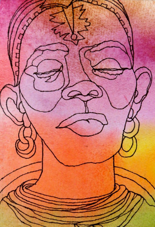 Contour Line Drawing Ink : Items similar to samburu sister an original artwork