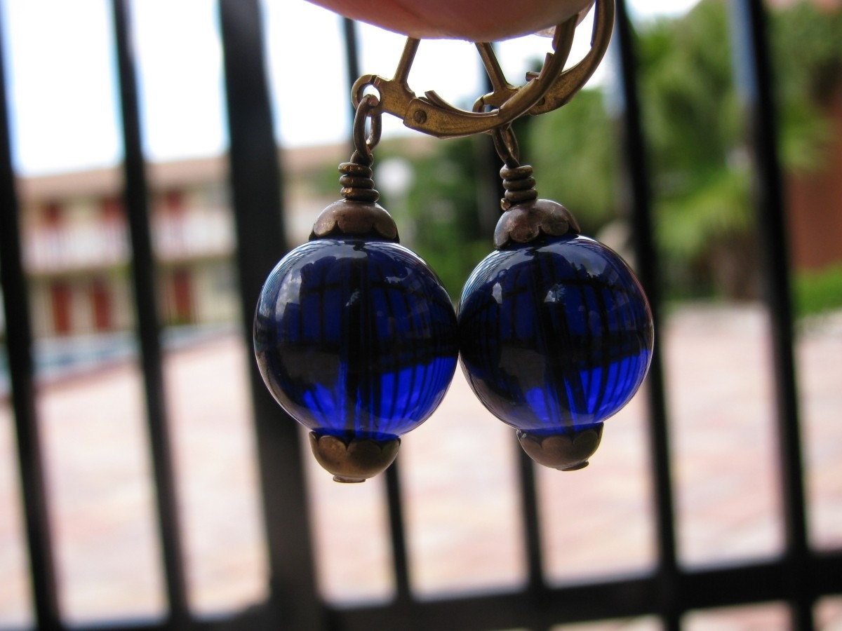 Big Beautiful Deep Cobalt Blue Glass Earrings