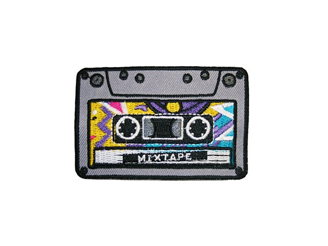 Mixtape Iron On Patch Embroidery Sewing DIY Customise Denim Cotton Cassette Hipster 80s Retro Geek Nerd Vintage